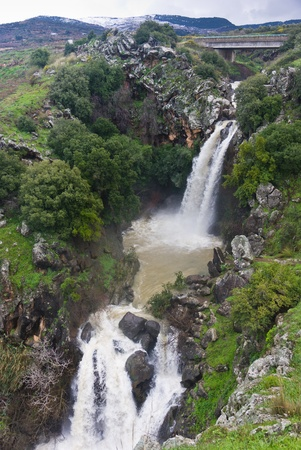 saar waterfall at the Golan heights - Israel photo