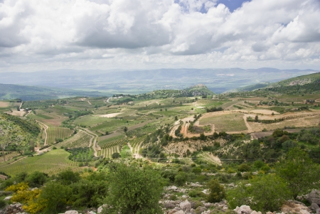galilee: view of the golan heights and the Galilee - northern israel  Stock Photo