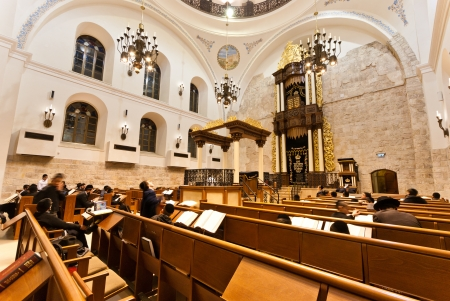 jewish prayer: the newly renovated  Hurva  synagogue at the old city of Jerusalem - it is the most important in the old city Editorial