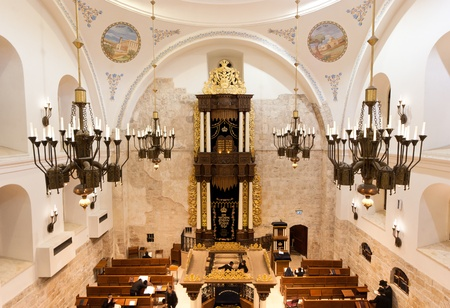 hurva: the newly renovated  Hurva  synagogue at the old city of Jerusalem - it is the most important in the old city Editorial