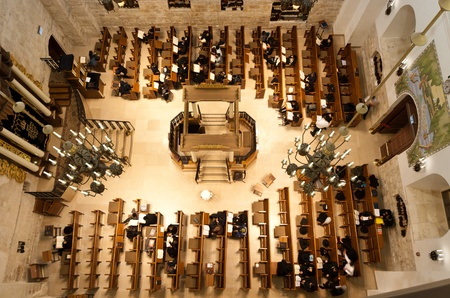 hurva: prayers at the newly renovated  Hurva  synagogue at the old city of Jerusalem - it is the most important in the old city