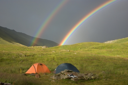 double rainbow at campsite photo
