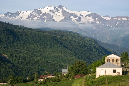 rural countryside at the coucasus mountains - Upper Svaneti, Georgia photo