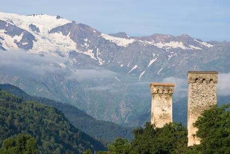 svaneti: historical Svan towers in Svaneti - Georgia