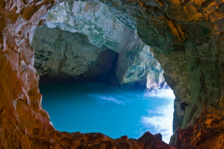a sea cave at Rosh Hanikra - Israel Stock Photo