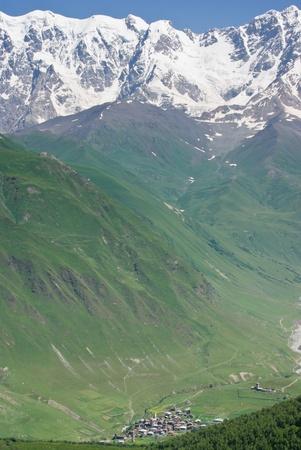 ushguli: mountain village Ushguli in the caucasus mountains of Georgia Stock Photo