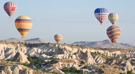 CAPPADOCIA, TURKEY - AUGUST 16  Hot Air Balloons at sunrise On August 16, 2011 in Cappadocia, Turkey  Cappadocia is the best place in Turkey to ride Hot Air Balloons Editorial