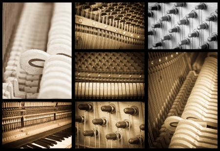 grand piano: vintage piano interiors collection set Stock Photo