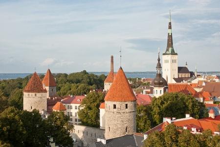 old Tallinn skyline with St Olaf  Oleviste  Church - Estonia  photo