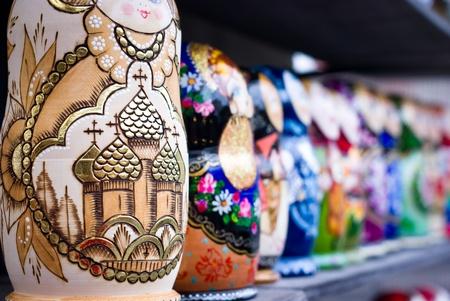 russian nested dolls: Russian Nesting Dolls at a Souvenir Market