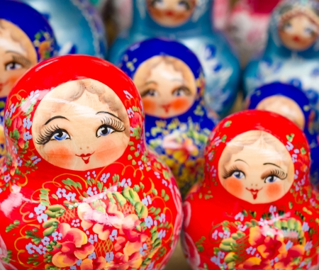 st petersburg: Russian Nesting Dolls Stock Photo