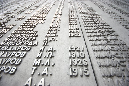 alphabetical order: TOMSK, RUSSIA - AUGUST 25  names of WW2 war casualties on WW2 memorial on August 25, 2012 in Tomsk, Russia  Names in alphabetical order,from first casualty in 1941 to last in 1945  Editorial