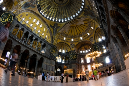 The interior of Aya Sofia museum in istanbul