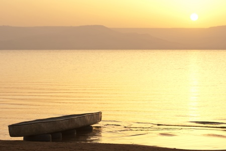 galilee: Kayak on the shore of the sea of Galilee on sunrise