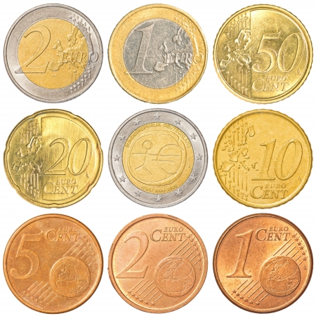 euro coins collection set isolated on white background photo