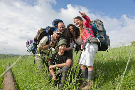 the golan heights: a group of hikers enjoying a sunny day  Editorial