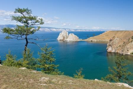 Uitzicht op het meer Baikal gezien vanaf Olkhon island - Siberië, Rusland