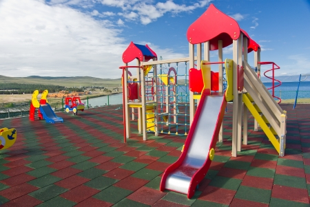 A colorful playground in a sunny day
