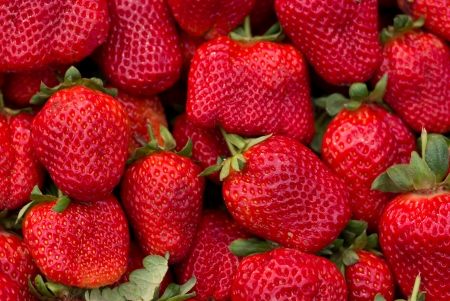 strawberries in adisplay at the market Stock Photo - 19436550