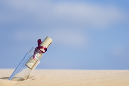 castaway: message in a bottle  Stock Photo
