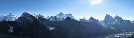 Everest Mountain Panorama as seen from Gokyo ri, Nepal Stock Photo
