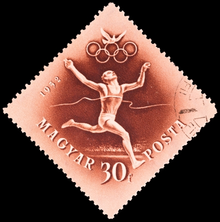 Hungary - CIRCA 1952  stamp printed by Hungary, shows an athelete crossing a finish line, series, circa 1952