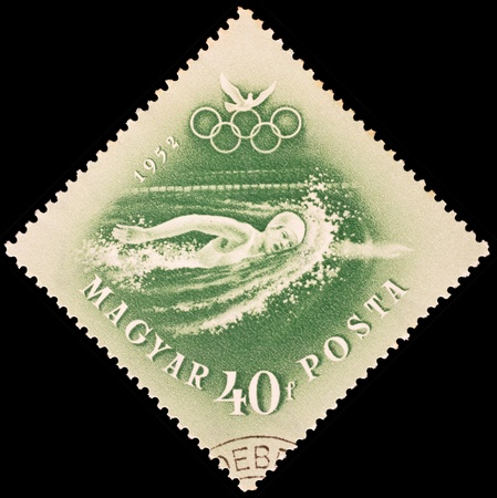 Hungary - CIRCA 1952  stamp printed by Hungary, shows swimming, series, circa 1952 Stock Photo - 19442407