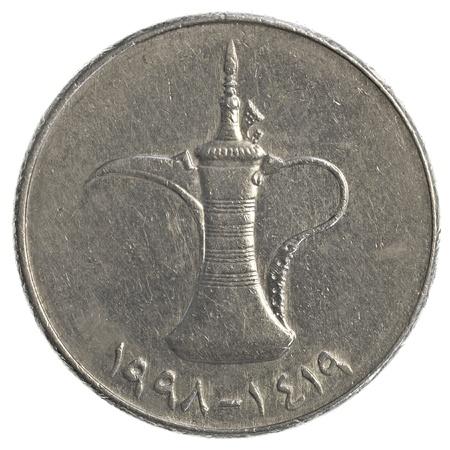 one United Arab Emirates dirham coin isolated on white background photo