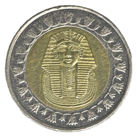 one Egyptian pound coin isolated on white background photo