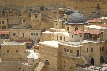 the ancient monastery of Mar Sabas in the Israeli Judean desert is about 1500 years old photo
