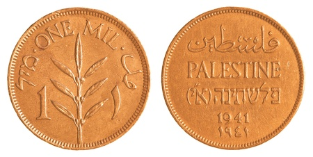 mandate: 1 old Israeli Mil coin from the British Mandate Era isolated on white background