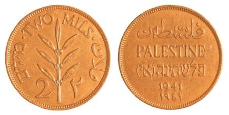 mandate: 2 Israeli Mil coin from the British Mandate Era isolated on white background Stock Photo