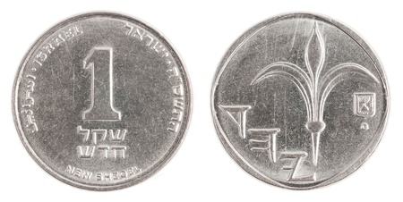 sheqel: one Israeli New Sheqel coin isolated on white background