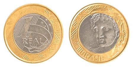 plundering: een Braziliaanse real munt geïsoleerd op witte achtergrond