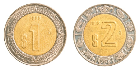 one   two mexican peso coins isolated on white background 版權商用圖片