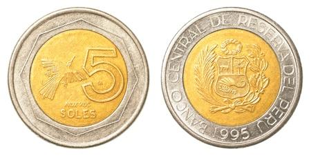 nuevo: 5 Peruvian nuevo sol coin isolated on white background