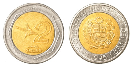 2 Peruvian nuevo sol coin isolated on white background photo
