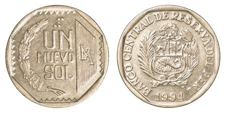 nuevo: 50 Peruvian nuevo sol centimos coin isolated on white background Stock Photo