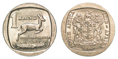 rand: one south african rand coin isolated on white background