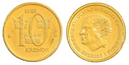 swedish: ten swedish Kronor coin isolated on white background Stock Photo
