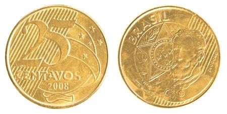 plundering: 25 Braziliaanse real centavos munt geïsoleerd op witte achtergrond Stockfoto