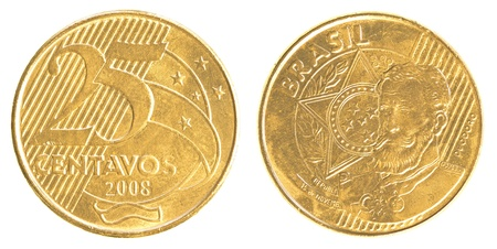pillage: 25 Brazilian real centavos coin isolated on white background