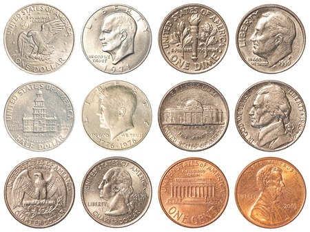 a collection of all the circulating coins in the united states + half dollar & 1 dollar coin