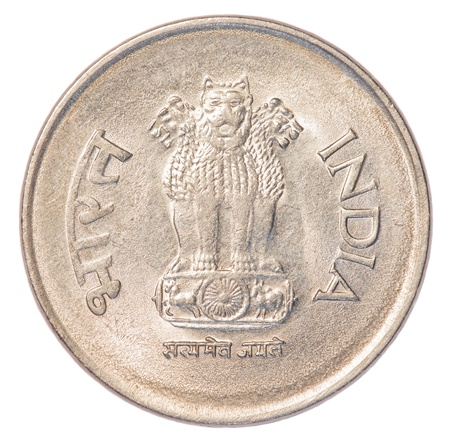 one Indian Rupee coin isolated on white background photo