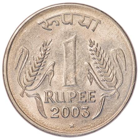 monete antiche: una moneta Rupia indiana isolato su sfondo bianco