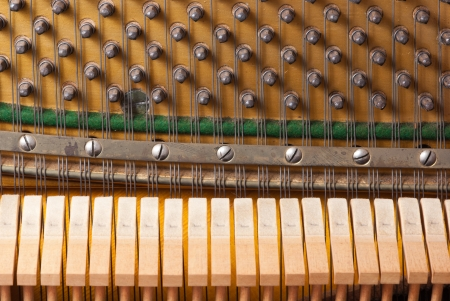 classical mechanics: The interiors of an old vintage piano