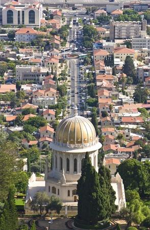 the Bahai shrine of the Bab in the Bahai gardens, Haifa, Israel photo