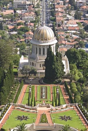 bahaullah: the Bahai shrine of the Bab in the Bahai gardens, Haifa, Israel Stock Photo