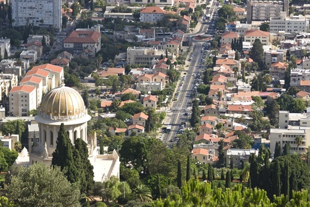 the Bahai gardens in the city of Haifa, israel photo