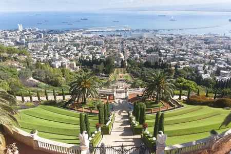 the Bahai gardens in the city of Haifa, israel photo